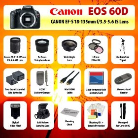 Canon EOS 60D Body SLR Digital Camera + Canon EF-S 18-135mm f/3.5-5.6 IS Lens + 2x telephoto Lens + Wide Angle Lens + Filter Kit + 2 Extended Life Batteries + Charger + 32 GB CompactFlash Card + Flash + Case + Tripod + MORE!