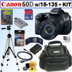 Canon EOS 60D 18 MP CMOS Digital SLR Camera with EF-S 18-135mm f/3.5-5.6 IS UD Standard Zoom Lens + 16GB Deluxe Accessory Kit