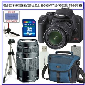 Canon EOS Rebel XS (a.k.a. 1000D) SLR Digital Camera Kit (Black) W/ 18-55mm IS Lens & Canon 75-300mm III Lens + Lowepro Digital Gadget Bag + Spare LP-E5 Battery + 58mm UV Filter + Transcend 16GB SDHC Card + Willoughby's Accessory Bundle