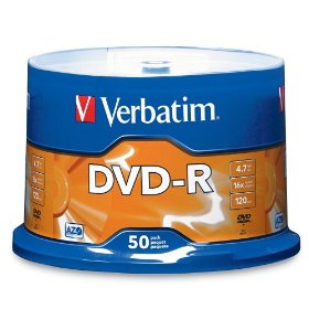 Verbatim 95101 4.7 GB 1x-16x 120 Minute Branded Recordable Disc DVD-R, 50-Disc Spindle