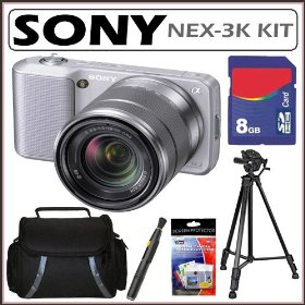 Sony DSLR Alpha NEX-3K 14.2MP Digital Camera & 18-55 Lens Silver + 8GB Kit