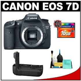 Canon EOS 7D Digital SLR Camera Body + Canon BG-E7 Battery Grip + 16GB Card + Cleaning Kit
