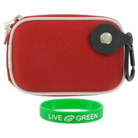 Nylon Hard Shell Carrying Case (Red) for Nikon Coolpix S6000 14 MP Digital Camera Red