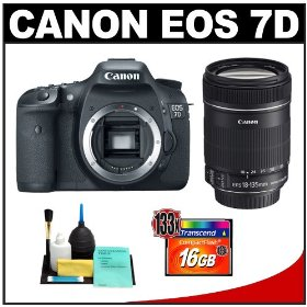 Canon EOS 7D Digital SLR Camera Body + Canon 18-135mm IS Zoom Lens + 16GB Card + Cleaning Kit
