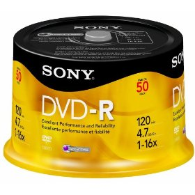 Sony 50DMR47RS4 16x DVD-R Discs (50 Disc Spindle)