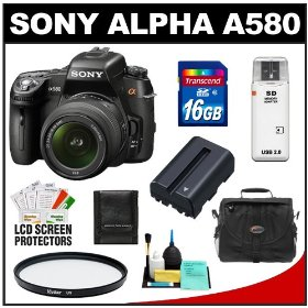 Sony Alpha DSLR-A580 16.2 MP Digital SLR Camera & 18-55mm Lens with 16GB Card + Battery + Case + UV Filter + Cleaning & Accessory Kit