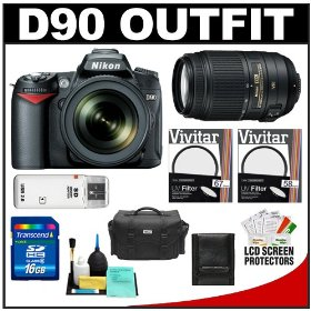 Nikon D90 Digital SLR Camera Body & 18-105mm DX VR AF-S Zoom Lens with 55-300mm VR Lens + 16GB Card + Case + Accessory Kit