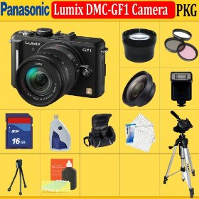 Panasonic Lumix DMC-GF1 Digital Camera (Includes manufacturer's supplied accessories) + HUGE ACCESSORIES PACKAGE INCLUDING WIDE ANGLE MACRO LENS + 2X TELEPHOTO + 3 PC FILTER KIT + 16GB SDHC MEMORY CARD + 1 CARRYING CASES + TRIPO & MUCH MORE !!