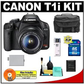 Canon EOS Rebel T1i 15.1MP Digital SLR Camera (Black) with Canon EF-S 18-55mm IS Lens + 16GB Card + LP-E5 Battery + Case + Accessory Kit
