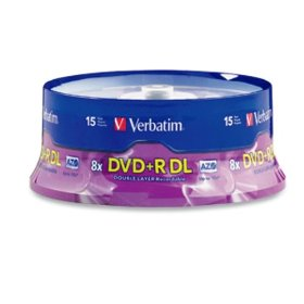 Verbatim 95484 8.5 GB 8x-10x Double Layer Recordable Disc DVD+R DL, 15 Disc Spindle