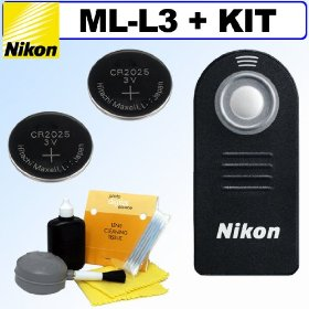 Nikon ML-L3 Wireless Remote Control for Nikon D40, D40x, D50, D60, D70, D70S D80 D90, D3000, D5000 & D7000 Digital SLR Cameras + 2 Extra Replacement Batteries + 5pc Deluxe Lens Care & Cleaning Kit