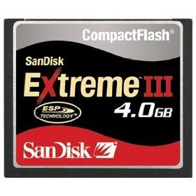 SanDisk SDCFX3-004G 4GB Extreme III CompactFlash Card (Bulk Package)
