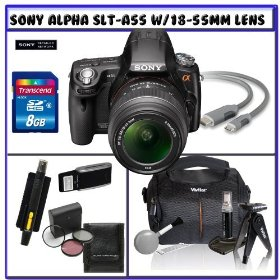 Sony Alpha DSLR-SLT-A55 16.2MP Digital Camera with Sony SAL1855 18-55mm f/3.5-5.6 DT AF Zoom Lens + 14Pc Starter Pack # 2