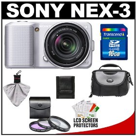 Sony Alpha NEX-3 Digital Camera Body & E 18-55mm OSS Compact Interchangeable Lens (Silver) with 16GB Card + Battery + Case + Accessory Kit