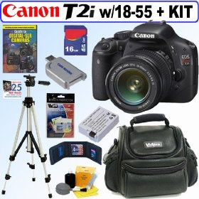 Canon EOS Rebel T2i 18 MP CMOS APS-C Digital SLR Camera with EF-S 18-55mm f/3.5-5.6 IS Lens + 16GB Deluxe Accessory Kit