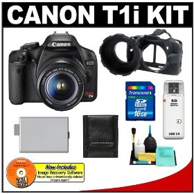Canon EOS Rebel T1i 15.1MP Digital SLR Camera (Black) & EF-S 18-55mm IS Lens with 16GB SD Card + LP-E5 + Camera Armor + Accessory Kit