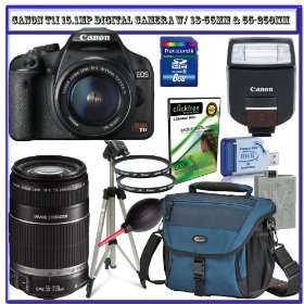 Canon EOS Rebel T1i 15.1 MP Digital SLR w/ Canon EF-S 18-55mm IS Lens + Canon 55-250mm IS Lens + Canon Speedlite 270EX Flash + Spare Li-ion Battery + Lowepro Camera Bag + 8GB + Deluxe Accessory Kit