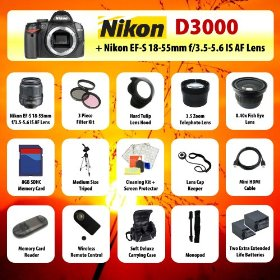 Nikon D3000 Digital SLR Camera + 18-55mm Lens + 3.5x Telephoto Lens + 0.40 Fish-Eye Lens + Filter Kit + 8GB SD + Card Reader + 2 Extra Batteries + Case + Mini HDMI Cable + Tripod + Monopod + Starter Kit + MORE!