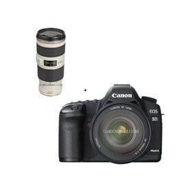 Canon EOS-5D Mark II Digital SLR Camera Body Kit with EF 24-105L IS & EF 70-200mm f/4L IS USM Autofocus Telephoto Zoom Lens