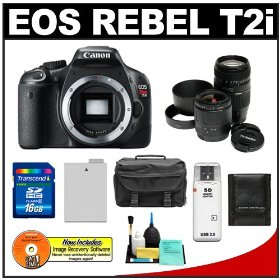 Canon EOS Rebel T2i Digital SLR Camera + 28-80mm & 70-300mm Zoom Lens + 16GB Card + Battery + Case + Accessory Kit