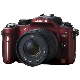 Panasonic Lumix DMC-G2 12.1 MP Live MOS Interchangeable Lens Camera with 3-Inch Touch Screen LCD and 14-42mm Lumix G VARIO f/3.5-5.6 MEGA OIS Lens (Red)