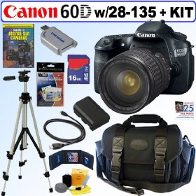 Canon EOS 60D 18 MP CMOS Digital SLR Camera with EF 28-135mm f/3.5-5.6 IS USM Standard Zoom Lens + 16GB Deluxe Accessory Kit