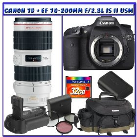 Canon EOS 7D SLR Digital Camera (Body Only) + Canon EF 70-200mm f/2.8L IS II USM Lens + Canon Gadget Bag + Canon 7D Battery Grip + Canon 7D Battery Pack + 32GB CF Deluxe Adventures Package