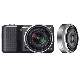 Sony NEX3KB Alpha NEX-3K 14.2MP Compact Interchangeable Lens HD Digital Camera with 18-55mm Lens in Black and SEL16F28 16mm f/2.8 Wide-Angle Lens