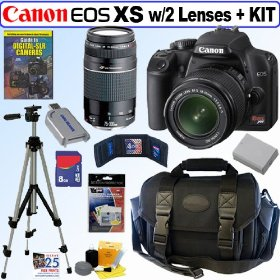 Canon Rebel XS 10.1MP Digital SLR Camera (Black) with EF-S 18-55mm f/3.5-5.6 IS Lens & EF 75-300mm f/4-5.6 III
