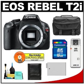 Canon EOS Rebel T2i Digital SLR Camera +16GB Card + Battery + Case + Accessory Kit
