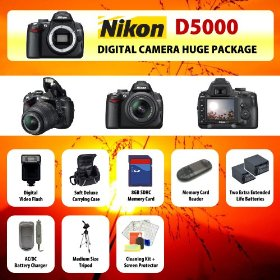 Nikon D5000 Digital SLR Camera Body + 2 Extended Life Batteries + Battery Charger + 8 GB Memory Card + Card Reader + Tripod + Carrying Case + Starter Kit + Digital Flash and more!!
