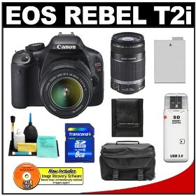 Canon EOS Rebel T2i Digital SLR Camera & 18-55mm IS Lens + EF-S 55-250mm IS Zoom Lens + 8GB Card + Battery + Case + Accessory Kit