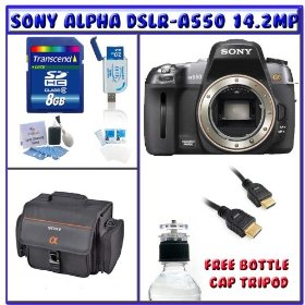 Sony Alpha DSLR-A550 14.2MP Digital SLR Camera (Body Only) + 8GB Memory Card + High-Definition Multimedia Interface Cable + Standard Accessory Pack # 2