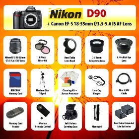 Nikon D90 Digital SLR Camera + 18-55mm Lens + 3.5x Telephoto Lens + 0.40 Fish-Eye Lens + Filter Kit + 8GB SD + Card Reader + 2 Extra Batteries + Case + Mini HDMI Cable + Tripod + Monopod + Starter Kit + MORE!
