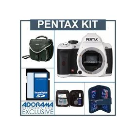 Pentax K-r Digital SLR Camera Body Only Kit - White - 4GB SD Memory Card, Camera Bag, Professional Lens Cleaning Kit, Digital Memory Case