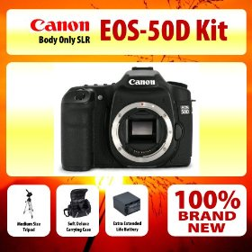 Canon EOS 50D SLR Digital Camera Kit + Medium Size Tripod + Soft Deluxe Carrying Case + Extra Extended Life Battery