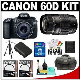 Canon EOS 60D Digital SLR Camera Body with EF-S 18-135mm IS Lens & Tamron 70-300mm Di Lens + 16GB Card + Battery + Case + Tripod + Accessory Kit