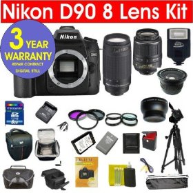 Nikon D90 12.3 MP Digital SLR Camera with 8 Lens Deluxe Camera Outfit