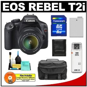 Canon EOS Rebel T2i Digital SLR Camera & 18-55mm IS Lens + 8GB Card + Battery + Case + Accessory Kit