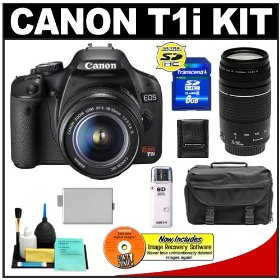 Canon EOS Rebel T1i 15.1MP Digital SLR Camera (Black) with Canon EF-S 18-55mm IS + 75-300mm f/4-5.6 III Lens + 8GB Card + LP-E5 Battery + Case + Accessory Kit