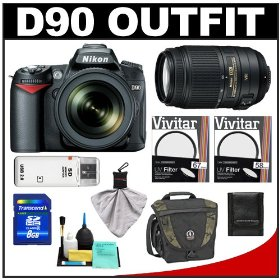 Nikon D90 Digital SLR Camera Body & 18-105mm DX VR AF-S Zoom Lens with 55-300mm VR Lens + 8GB Card + Tamrac Case + Accessory Kit