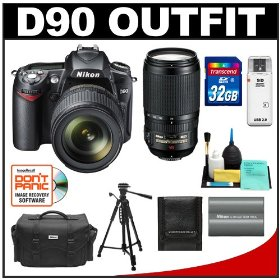Nikon D90 Digital SLR Camera Body & 18-105mm DX VR AF-S & 70-300mm VR Zoom Lens with 32GB Card + Case + Nikon Battery + Tripod + Accessory Kit