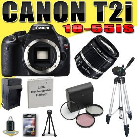 Canon EOS Rebel T2i 18 MP CMOS APS-C Digital SLR Camera w/ EF-S 18-55mm f/3.5-5.6 IS Lens DavisMAX LPE8 Battery/Charger Filter Kit Tripod Bundle