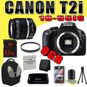 Canon EOS Rebel T2i 18 MP CMOS APS-C Digital SLR Camera w/ EF-S 18-55mm f/3.5-5.6 IS Lens DavisMAX LPE8 Battery UV 8GB Backpack Bundle
