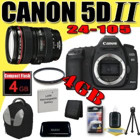 Canon EOS 5D Mark II 21.1MP Digital SLR Camera w/ EF 24-105mm f/4 L IS USM Lens DavisMAX LPE6 Battery UV 4GB deluxe BackPack Bundle
