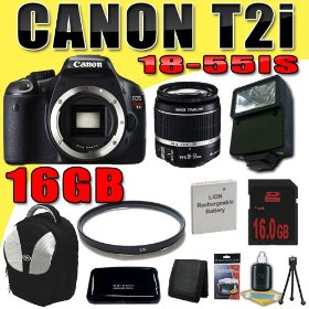 Canon EOS Rebel T2i 18 MP CMOS APS-C Digital SLR Camera w/ EF-S 18-55mm f/3.5-5.6 IS Lens DavisMAX LPE8 Battery UV External Flash 16GB Backpack Bundle