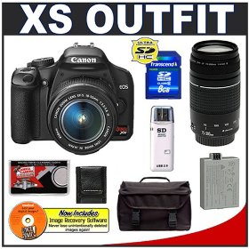 Canon Digital Rebel XS 10.1MP Digital SLR Camera (Black) + Canon EF-S 18-55mm IS Lens + Canon EF 75-300mm III Lens + Spare LP-E5 Battery + 8GB Card + Gadget Bag