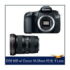 Canon EOS 60D 18 MP CMOS Digital SLR Camera with 3.0-Inch LCD, with Canon EF 16-35mm f/2.8L II USM Ultra Wide Angle Zoom Lens