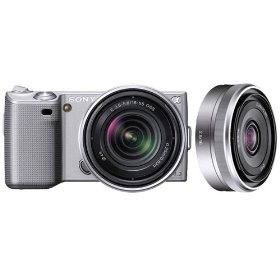 Sony DSLR NEX5KSK1 NEX-5K 14.2MP Digital Camera; 18-55 & 16mm F2.8 Lenses Silver