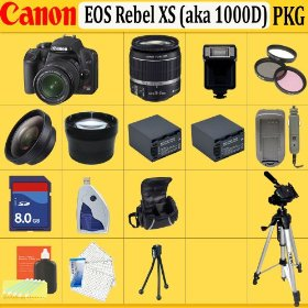 Canon EOS Rebel XS (a.k.a. 1000D) SLR Digital Camera Kit (Black)
